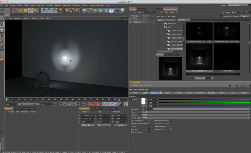 Illuminazione realistica con IES Lights in Cinema 4D