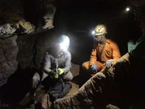Fig. 5 – Showcasing and explaining the ZEB1 scanner to a cave explorer.