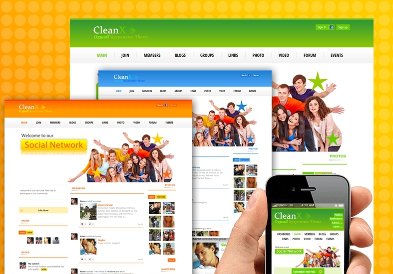 cleanx theme for oxwall