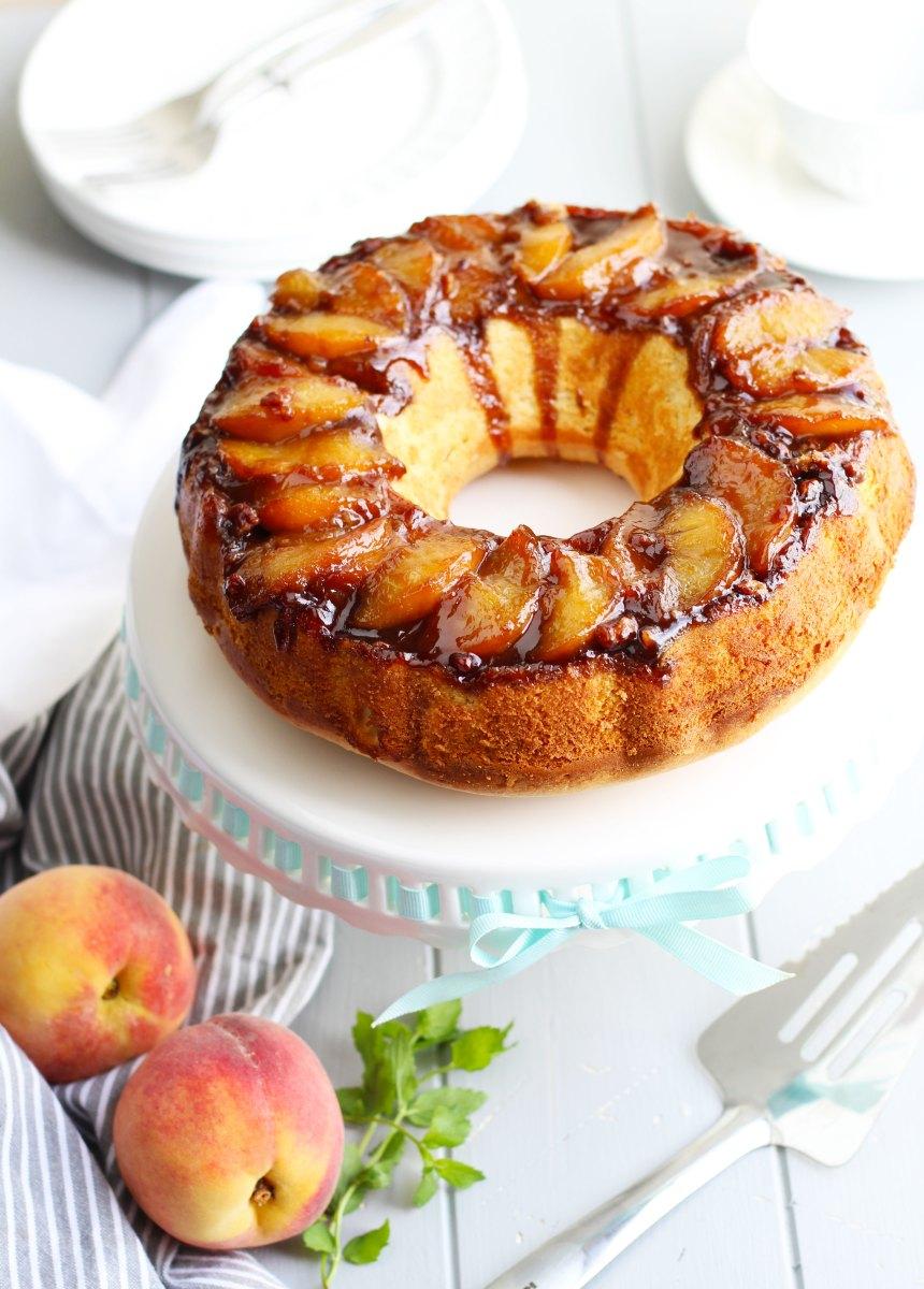 Amaretto Peach Upside-Down Bundt Cake