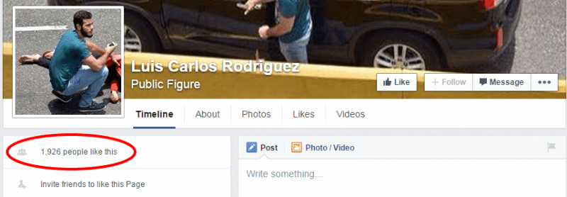 El fan page en tributo a Luis Carlos