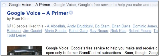 Google Reader Like button