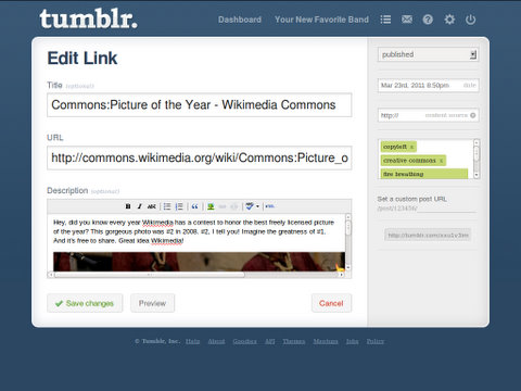 adding or editing a post in Tumblr