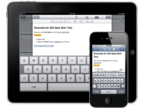 Evernote for iOS (iPhone, iPod Touch, iPad) Now Has a Rich Text Editor | From Evernote Blog