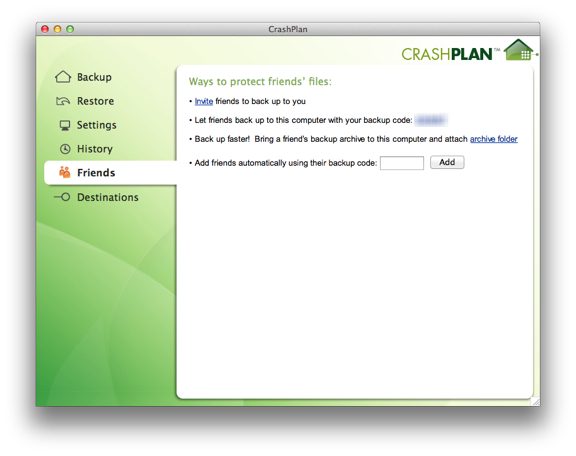 crashplan backup code
