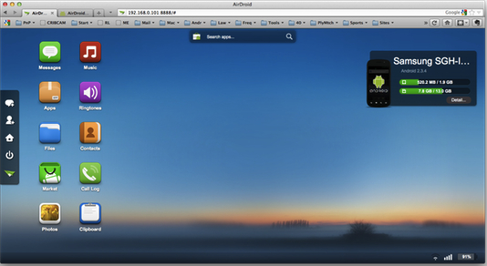 AirDroid main screen