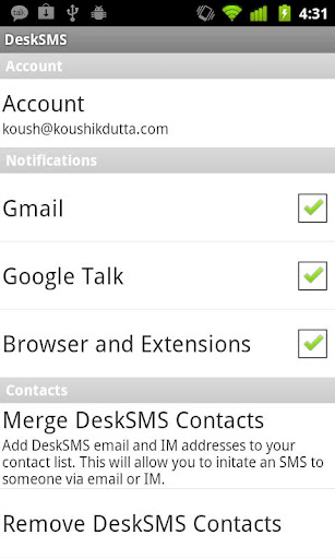DeskSMS settings