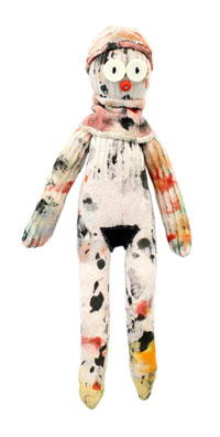 """Laura Castellanos, sock it to me, paint rags, fabric remnants, buttons, thread, 9.5"""" x 6.5"""" © 2012"""