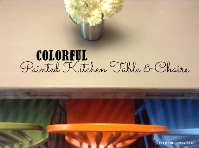 colorful painted kitchen table & chairs
