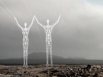 Artistic vision: The plan was for the pylons (pictured) to stand around 150ft tall and be constructed from steel, glass and concrete