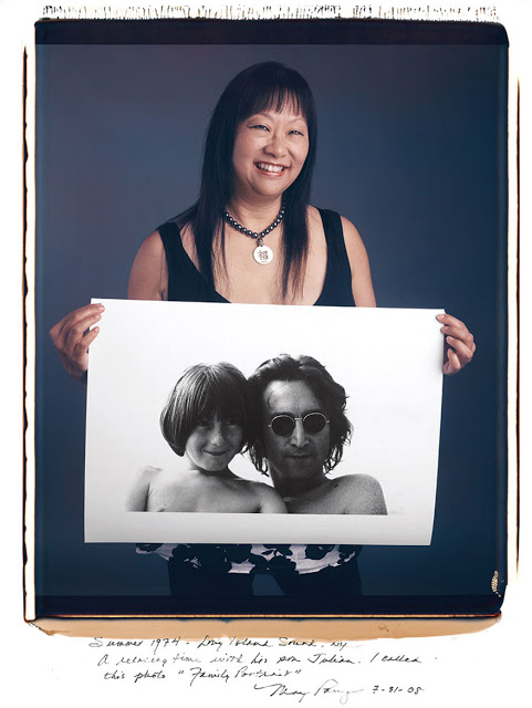 "May Pang: Summer 1974 Long Island Sound NY. A relaxing time with his son Julian. I called this photo ""Family Portrait."""