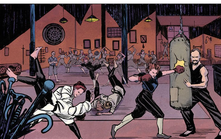 Amazons secretly practice their martial arts in a scene from Suffrajitsu, the graphic novel. (Image: Joao Vieira/Jet City Comics)