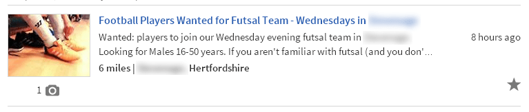 Gumtree Football Player Advert Header