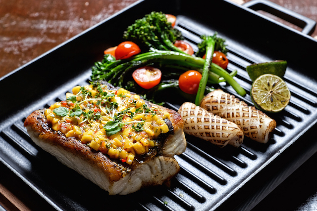 Fish to share - Grilled barramundi with mango salsa, sautéed brocolini