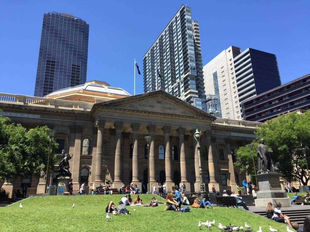 The lawn of the Victoria State Library is perfect for a picnic.