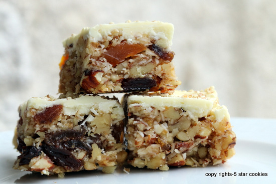 5starcookies White Chocolate Fruit and Nut Bars