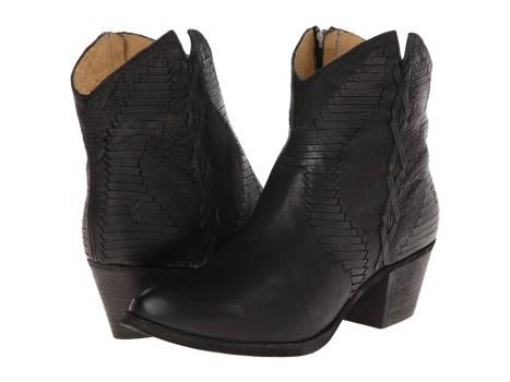 Frye - Isa Whipstitch (Black Buffalo Nubuck) Cowboy Boots