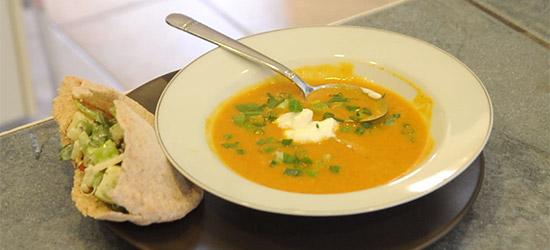 Curried Pumpkin Soup & Creamy Apple and Pecan Stuffed Pitas….$10 or Less Meal