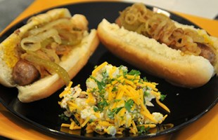Beer Brats with Onions & Peppers With Loaded Baked Potato Salad – $10 or Less Meal