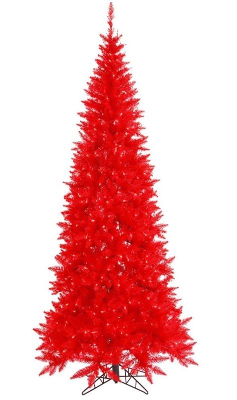6.5' Pre-Lit Ruby Red Fir Slim Artificial Christmas Tree