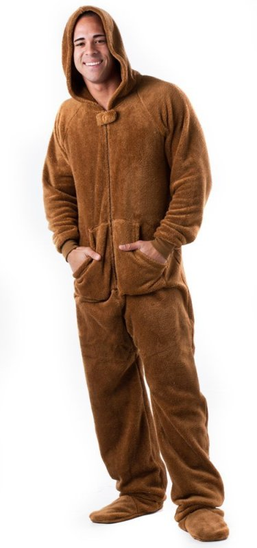 Footed Pajamas Teddy Bear Adult Hoodie One Piece