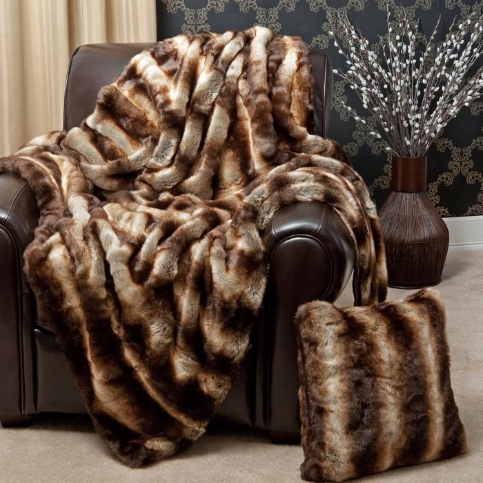 Faux Fur Throw Blanket - Chinchilla