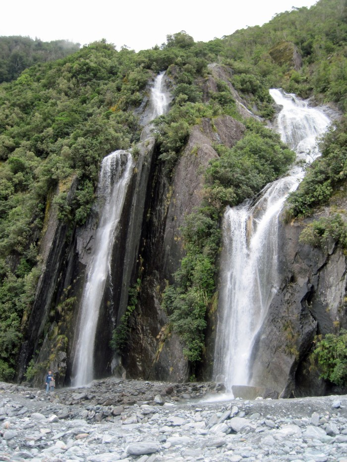 """Some """"little waterfalls"""" at Franz Josef. Can you find the people?"""