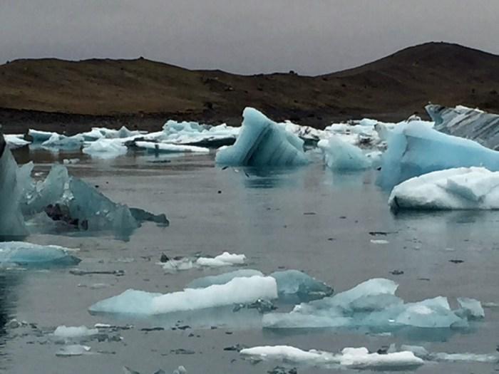 bright blue icebergs bob in a lake