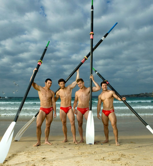 Rowers in Speedos
