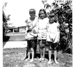My dearest childhood friends (l-r) Teresa, me, Marian with brother Paul. They would never leave me and they haven't.