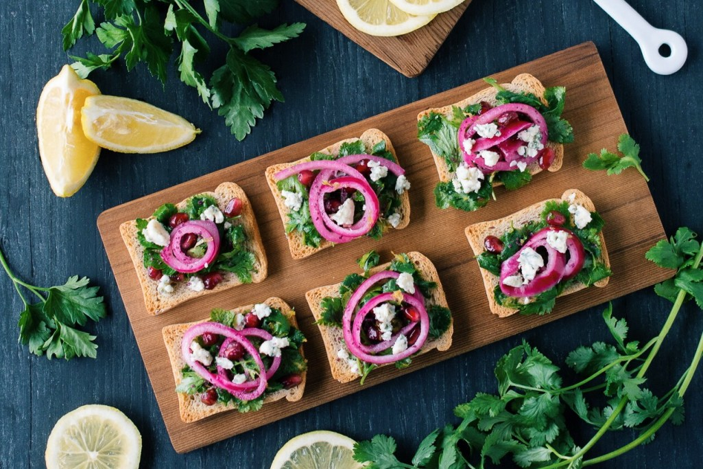 Whole Wheat Rusks with Herb Salad, Pickled Red Onion + Blue Cheese