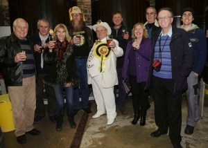 Alan Hope, Leader of The Official Monster Raving Loony Party at the launch of  their Co-ALE-ition Gold beer, at Langhams Brewery Nr Midhurst West Sussex on Monday 02 December 2013 www.polopictures.co.uk