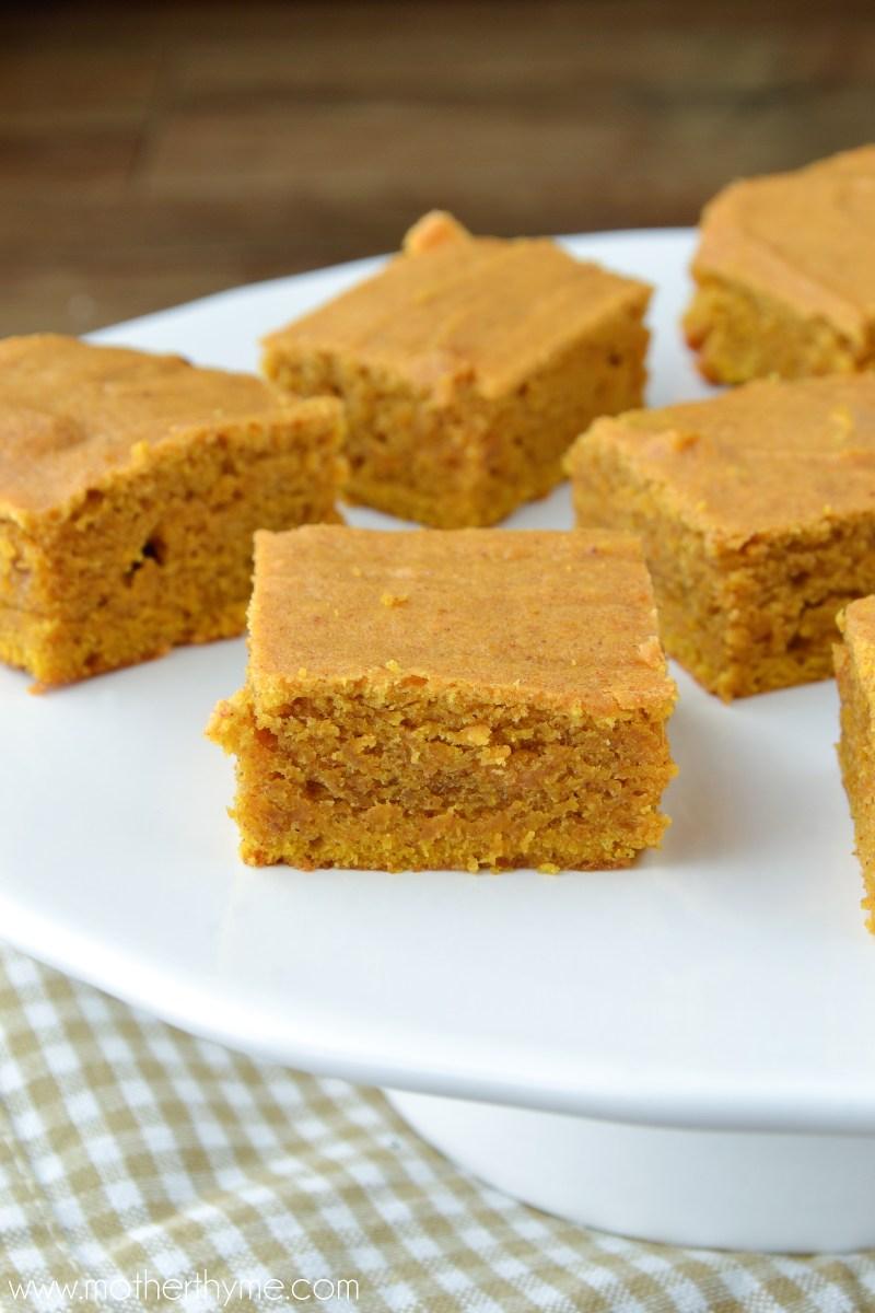 Pumpkin Blondies - www.motherthyme.com