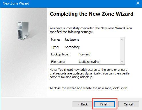 Finish zone wizard