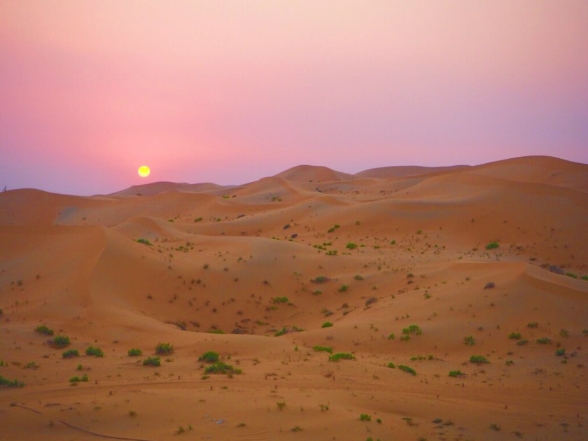 sunset on Abu Dhabi Desert