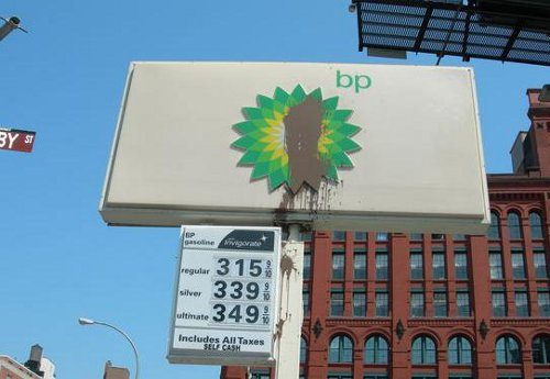 An Oiled BP Sign in NYC, via Gothamist, Hat-Tip to J.M.G.