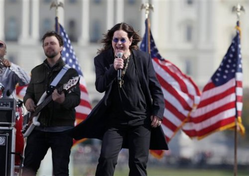 Rocker Ozzy Osbourne performs during the Rally to Restore Sanity and/or Fear.