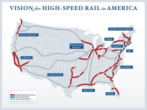The Federal Railroad Commission's vision for high-speed rail in America, as a map of current and proposed lines.