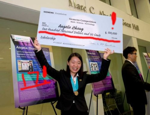 Angela Zhang with her $100,000 scholarship cheque.