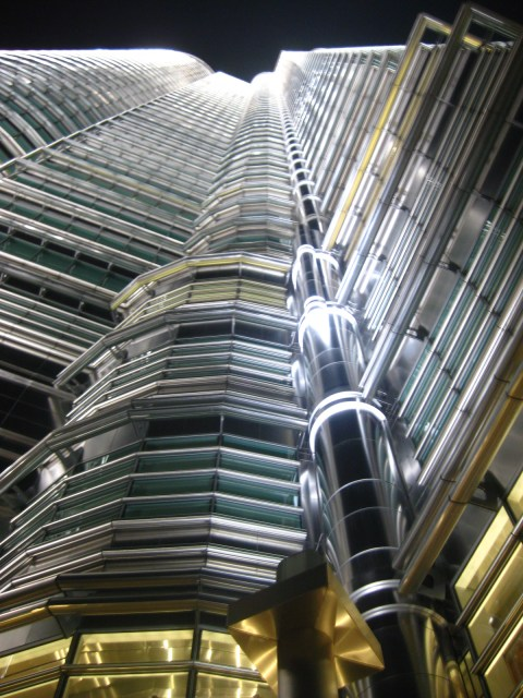 Looking Up One of Kuala's Lumpur's Famed Petronas Twin Towers