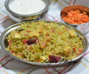 Spinach Pulav with Coconut Milk