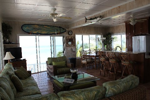 Plenty of comfortable seating in the living room of Calypso.