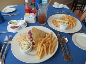Fish Taco on the left & Island Quesadilla (we chose Lobster) on the right