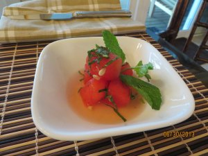 Amuse: Chilled Watermelon Mojito with Fresh Mint