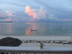 Abaco Palms' skiff at sunrise - waiting for an adventure!