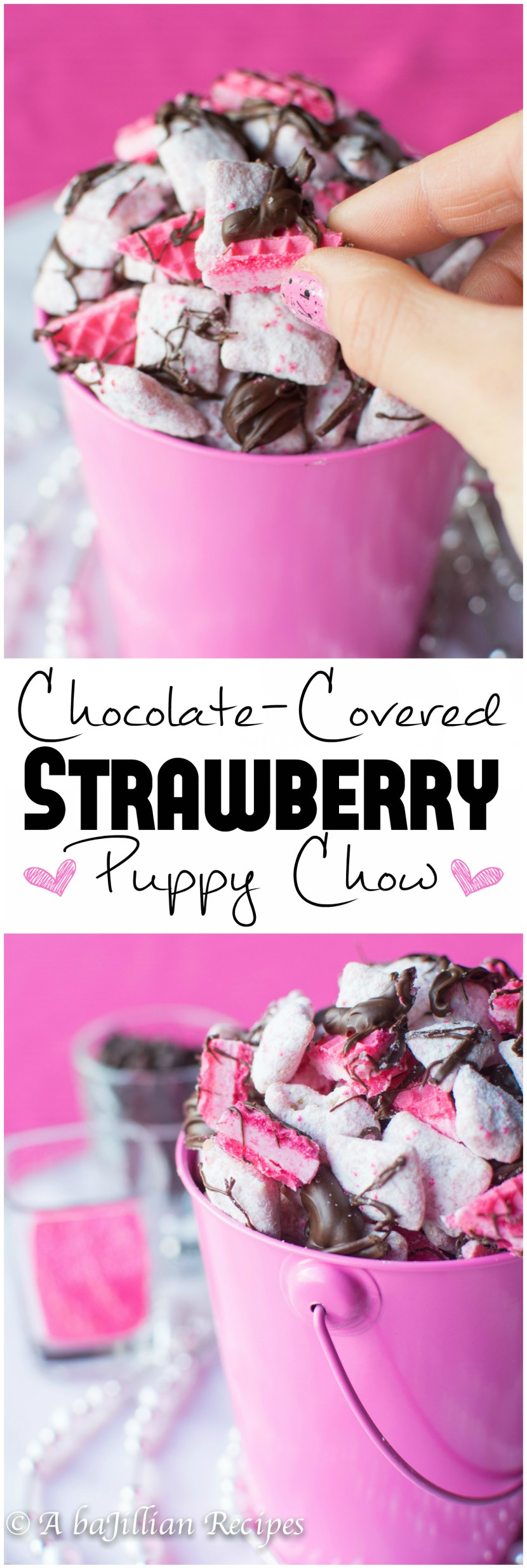Chocolate Covered Strawberry Puppy Chow | A baJillian Recipes