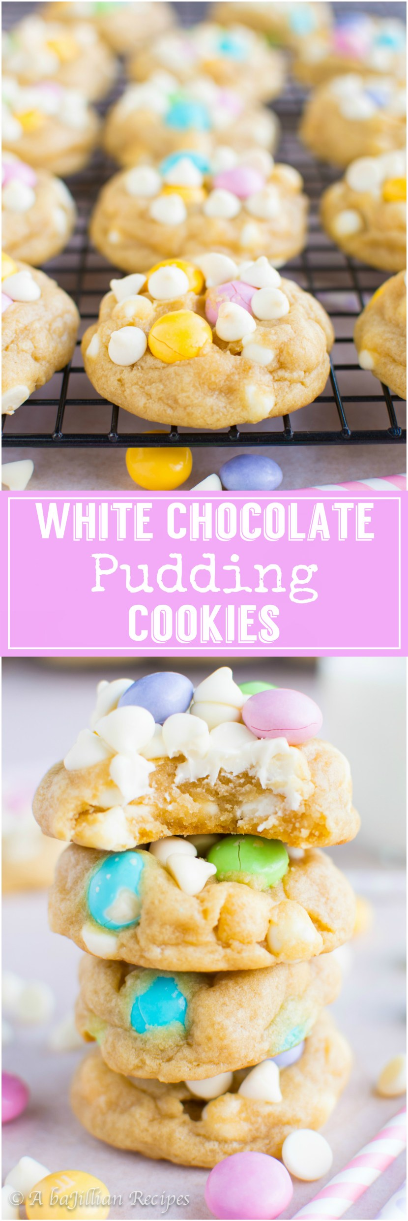 White Chocolate M&M Cookies | A baJillian Recipes