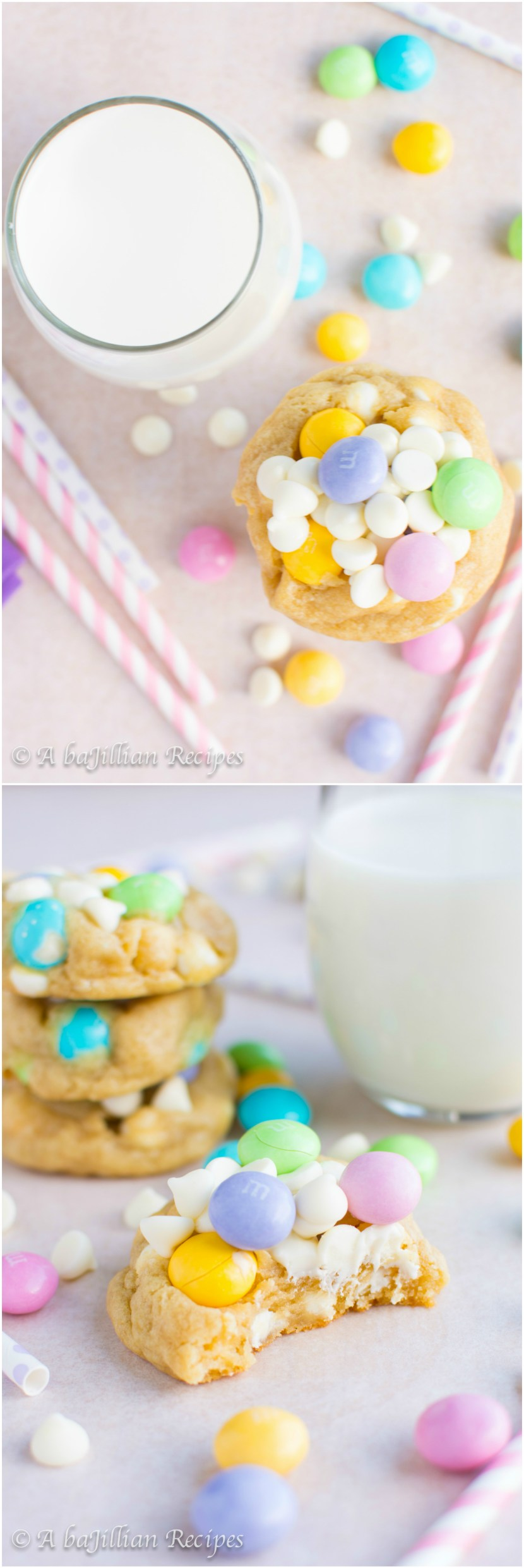 White Chocolate M&M Cookies | A baJillian Recipes3
