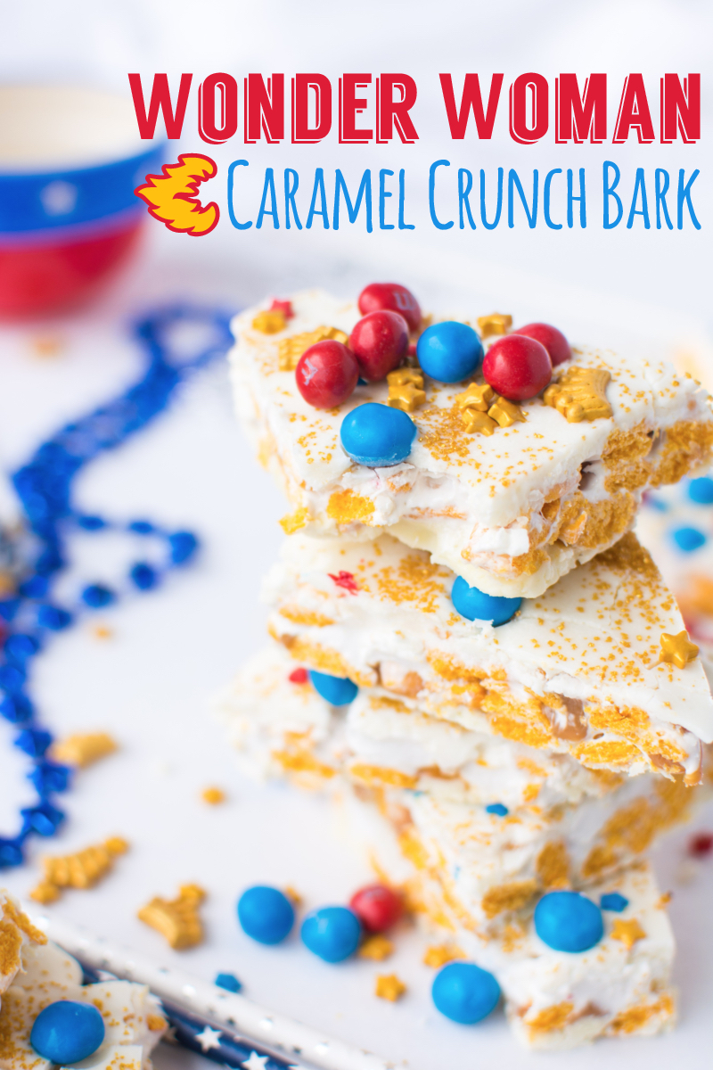 Wonder Woman Caramel Crunch Bark (title)