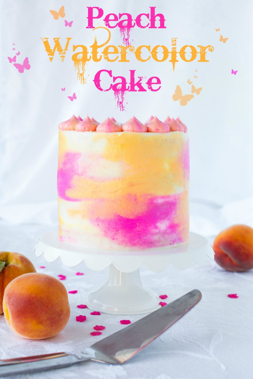 Peach Watercolor Cake A baJillian Recipes-8(title)